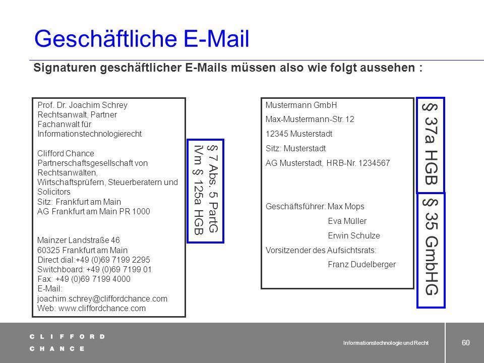 Geschäftliche E-Mail § 37a HGB § 35 GmbHG
