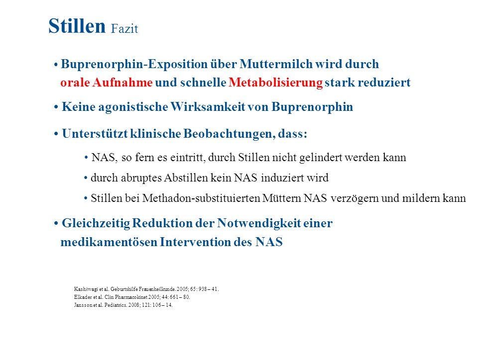 Stillen Fazit • Buprenorphin-Exposition über Muttermilch wird durch. orale Aufnahme und schnelle Metabolisierung stark reduziert.