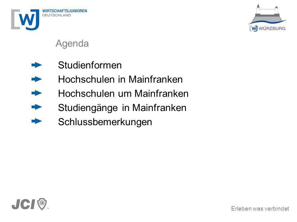 Agenda Studienformen. Hochschulen in Mainfranken. Hochschulen um Mainfranken. Studiengänge in Mainfranken.