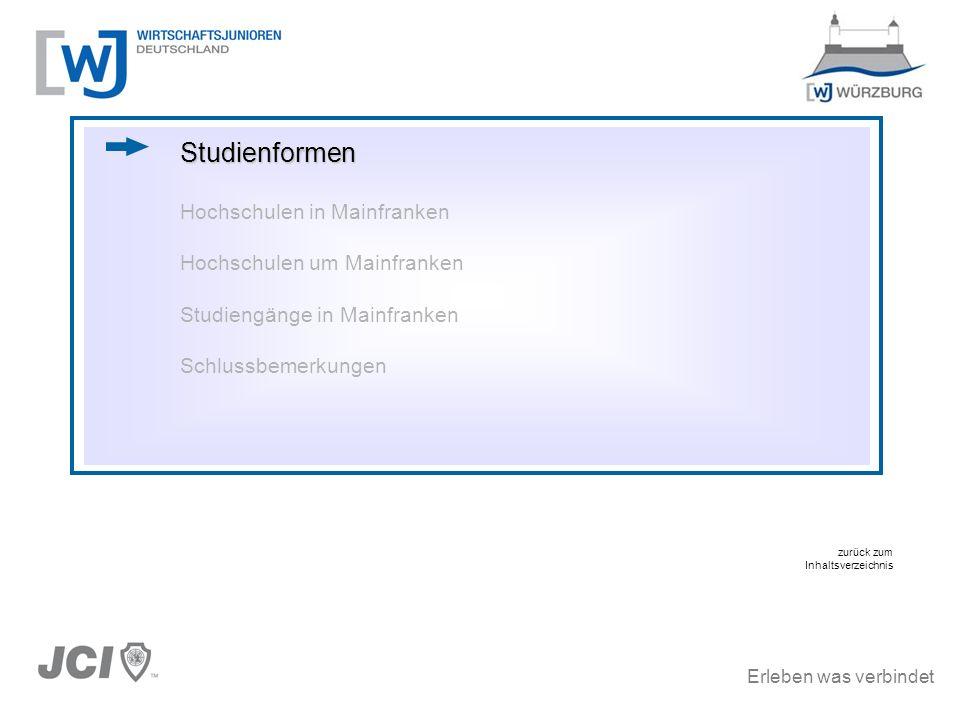 Studienformen Hochschulen in Mainfranken Hochschulen um Mainfranken