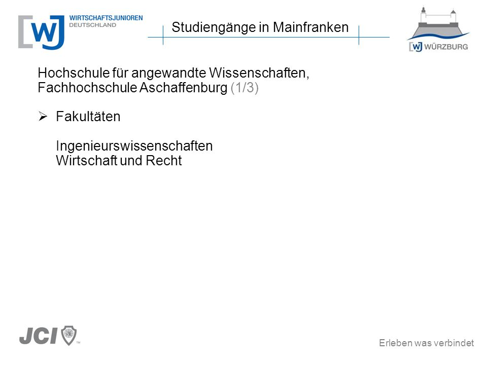 Studiengänge in Mainfranken