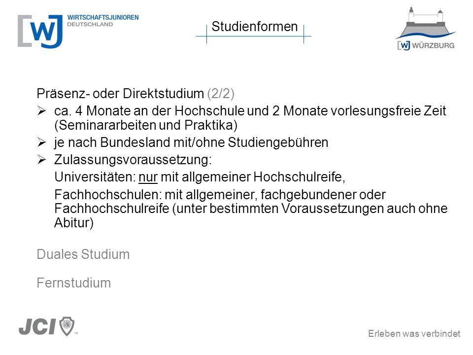 Studienformen Präsenz- oder Direktstudium (2/2) ca. 4 Monate an der Hochschule und 2 Monate vorlesungsfreie Zeit (Seminararbeiten und Praktika)