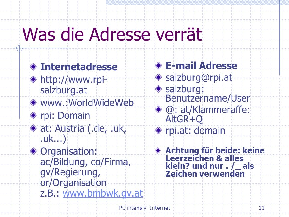 Was die Adresse verrät Internetadresse
