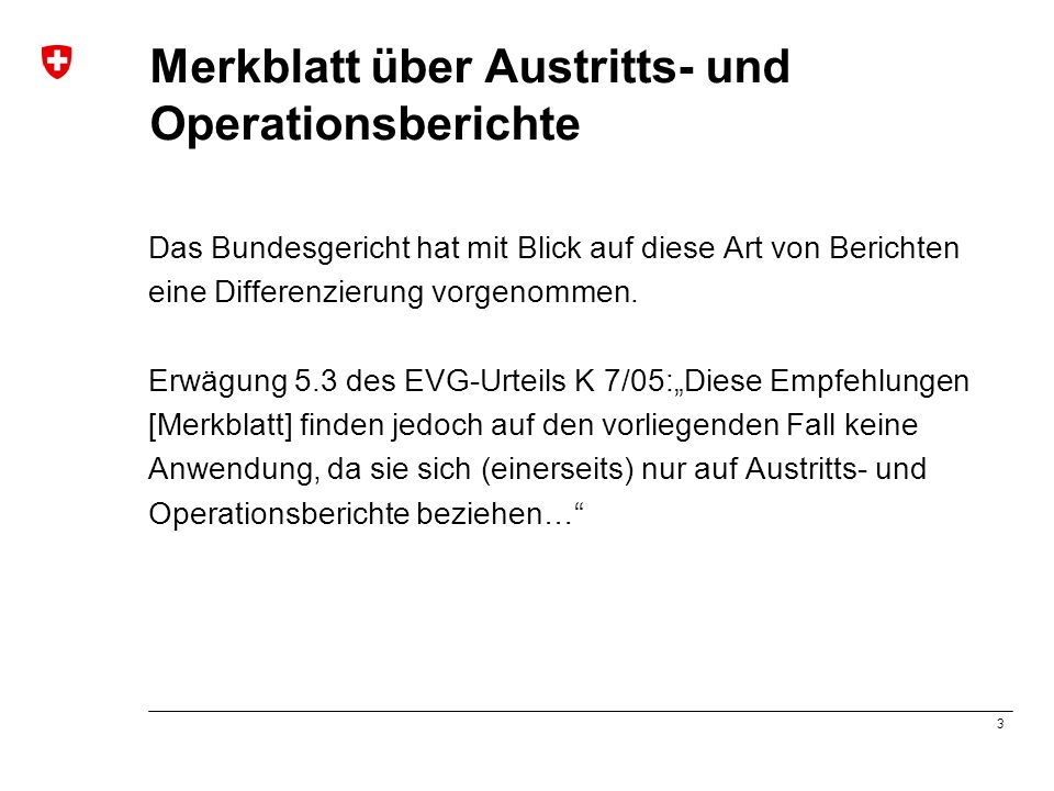 Merkblatt über Austritts- und Operationsberichte