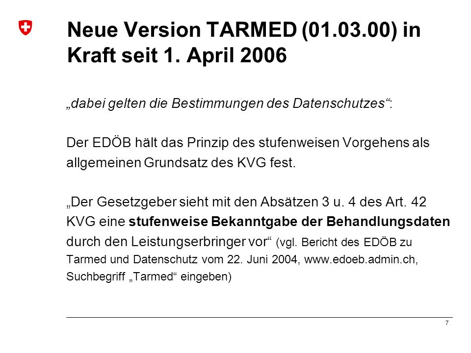Neue Version TARMED (01.03.00) in Kraft seit 1. April 2006