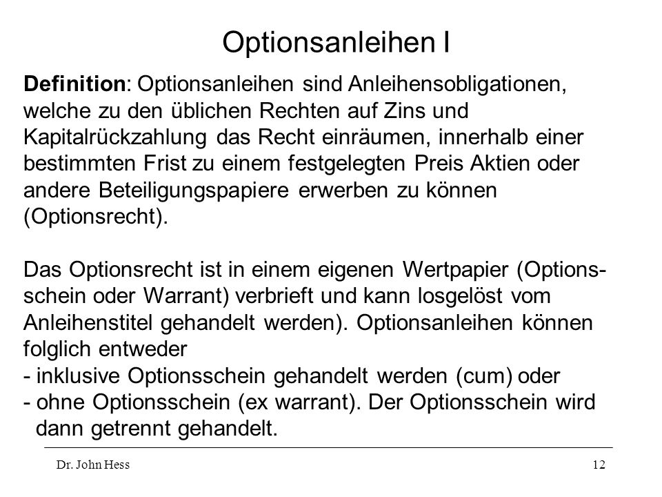 Optionsanleihen I