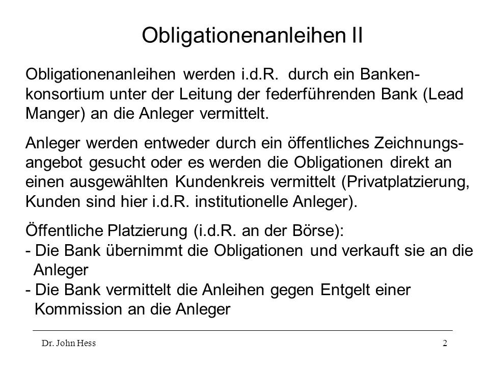 Obligationenanleihen II