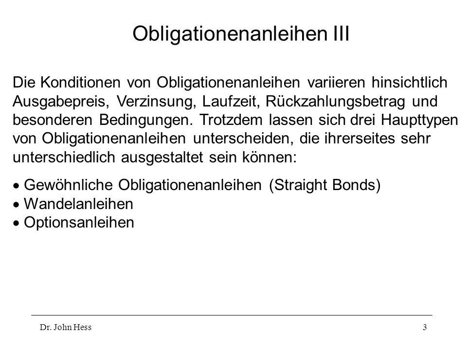 Obligationenanleihen III
