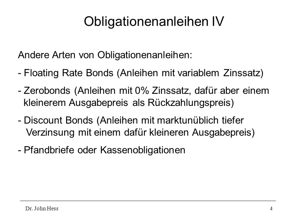 Obligationenanleihen IV