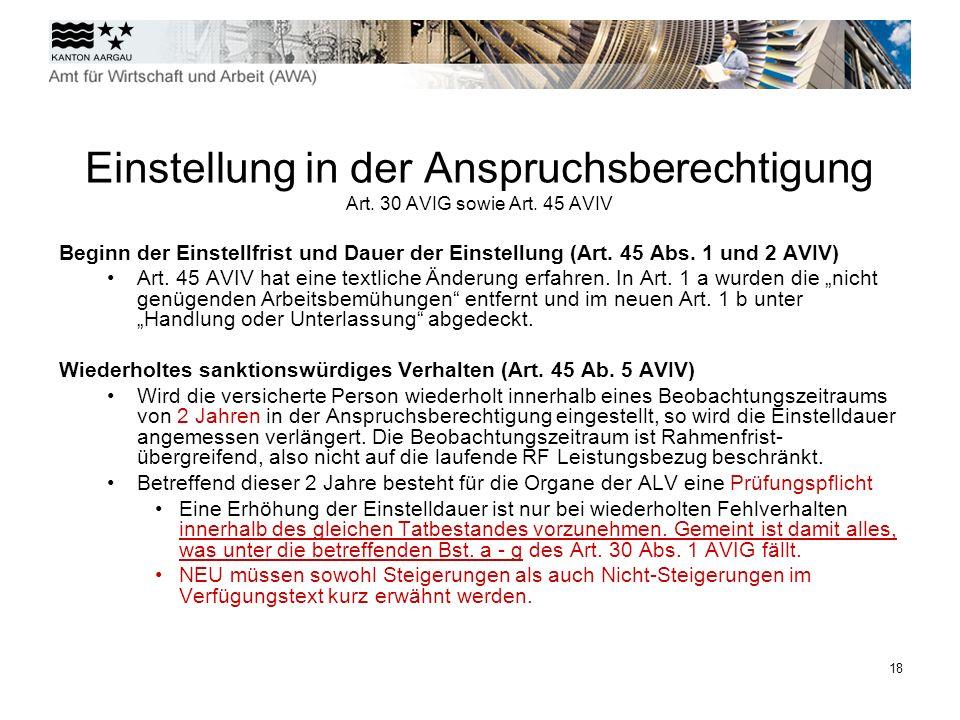 Einstellung in der Anspruchsberechtigung Art. 30 AVIG sowie Art