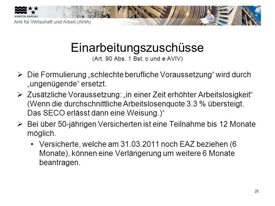Einarbeitungszuschüsse (Art. 90 Abs. 1 Bst. c und e AVIV)