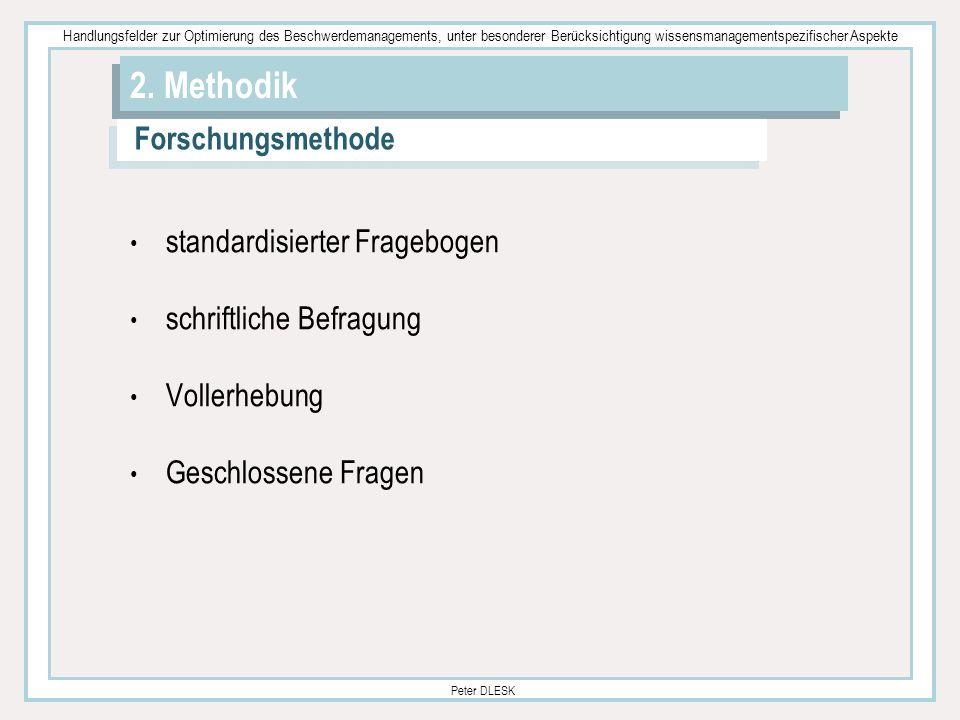 2. Methodik Forschungsmethode standardisierter Fragebogen