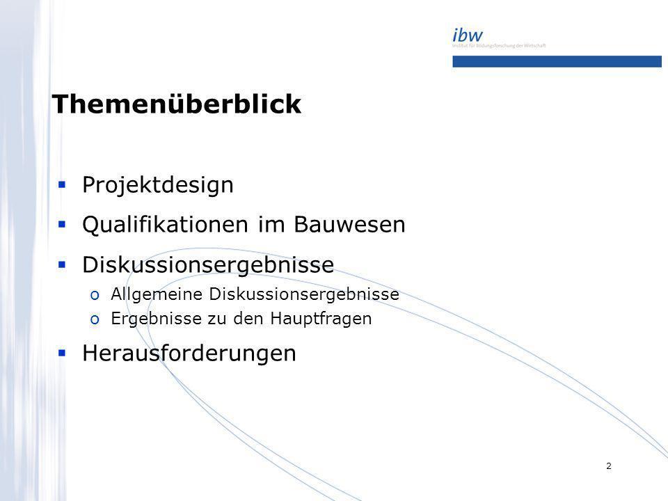 Themenüberblick Projektdesign Qualifikationen im Bauwesen