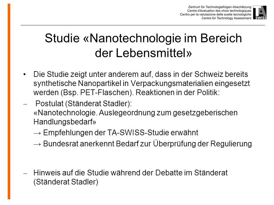 Studie «Nanotechnologie im Bereich der Lebensmittel»