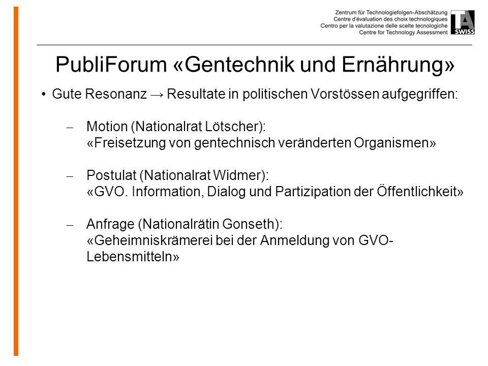 PubliForum «Gentechnik und Ernährung»