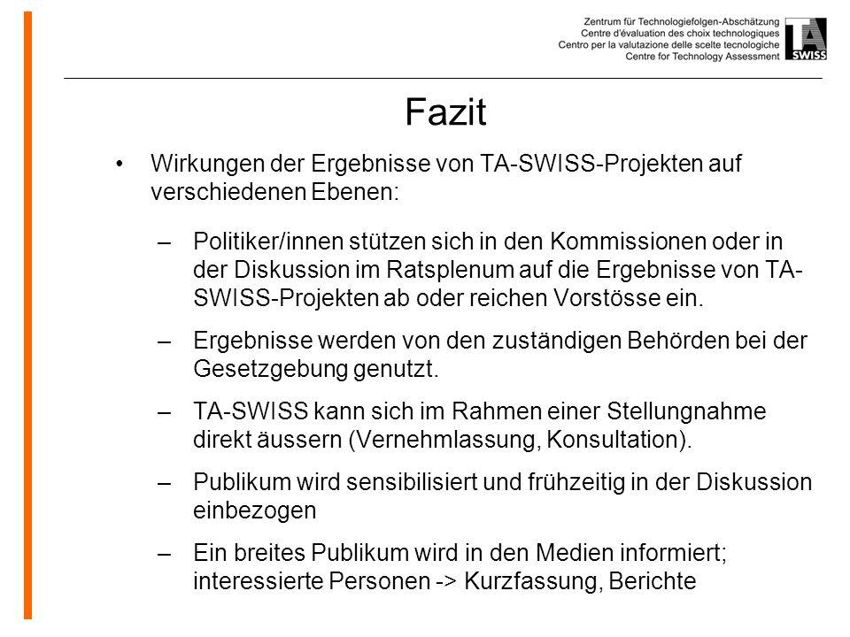 Fazit Wirkungen der Ergebnisse von TA-SWISS-Projekten auf verschiedenen Ebenen: