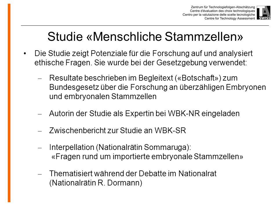 Studie «Menschliche Stammzellen»
