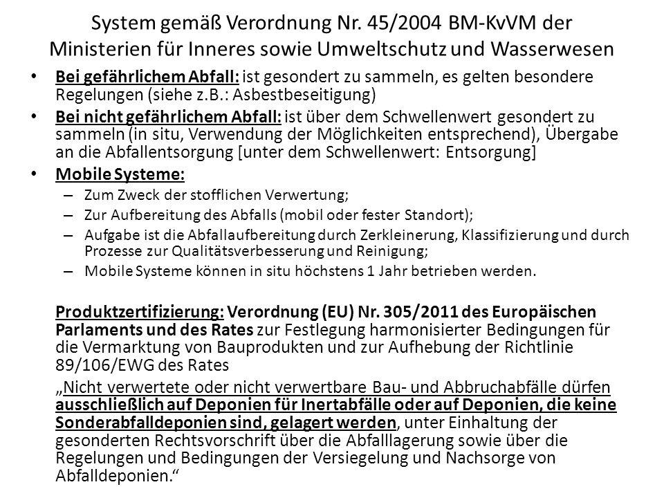 System gemäß Verordnung Nr