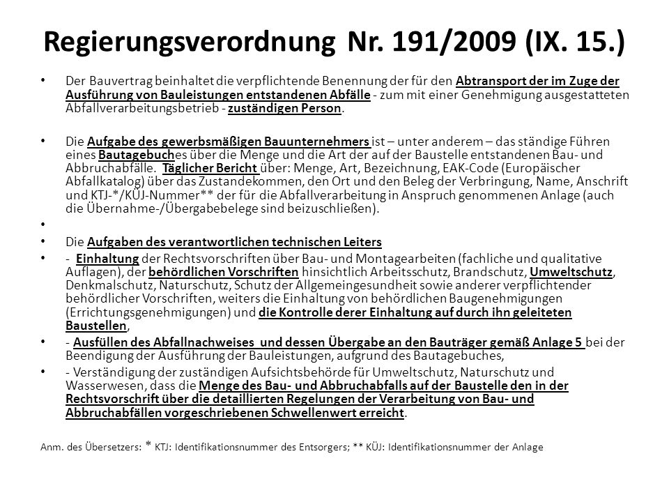 Regierungsverordnung Nr. 191/2009 (IX. 15.)