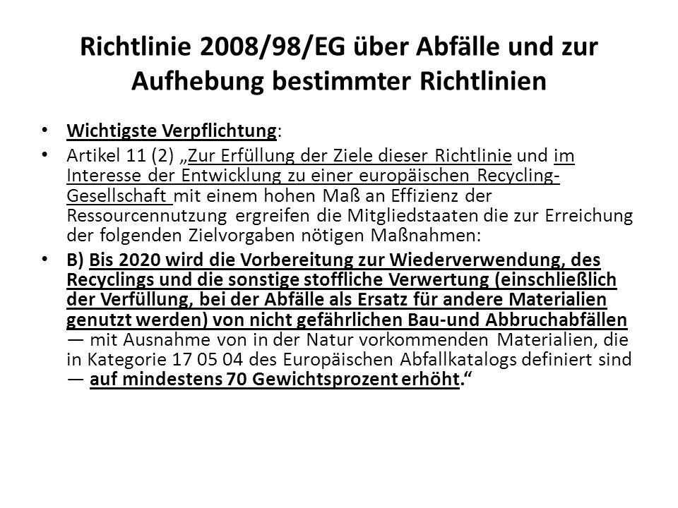 Richtlinie 2008/98/EG über Abfälle und zur Aufhebung bestimmter Richtlinien