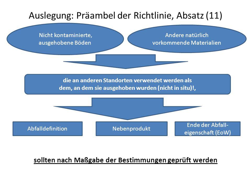 Auslegung: Präambel der Richtlinie, Absatz (11)