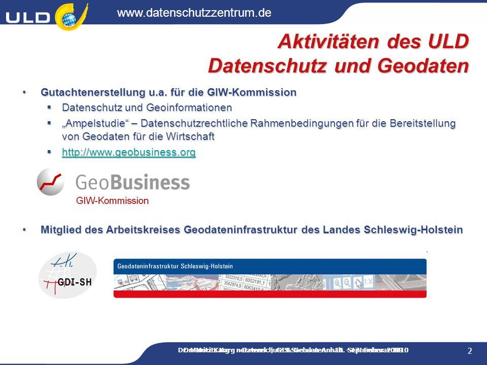 Aktivitäten des ULD Datenschutz und Geodaten