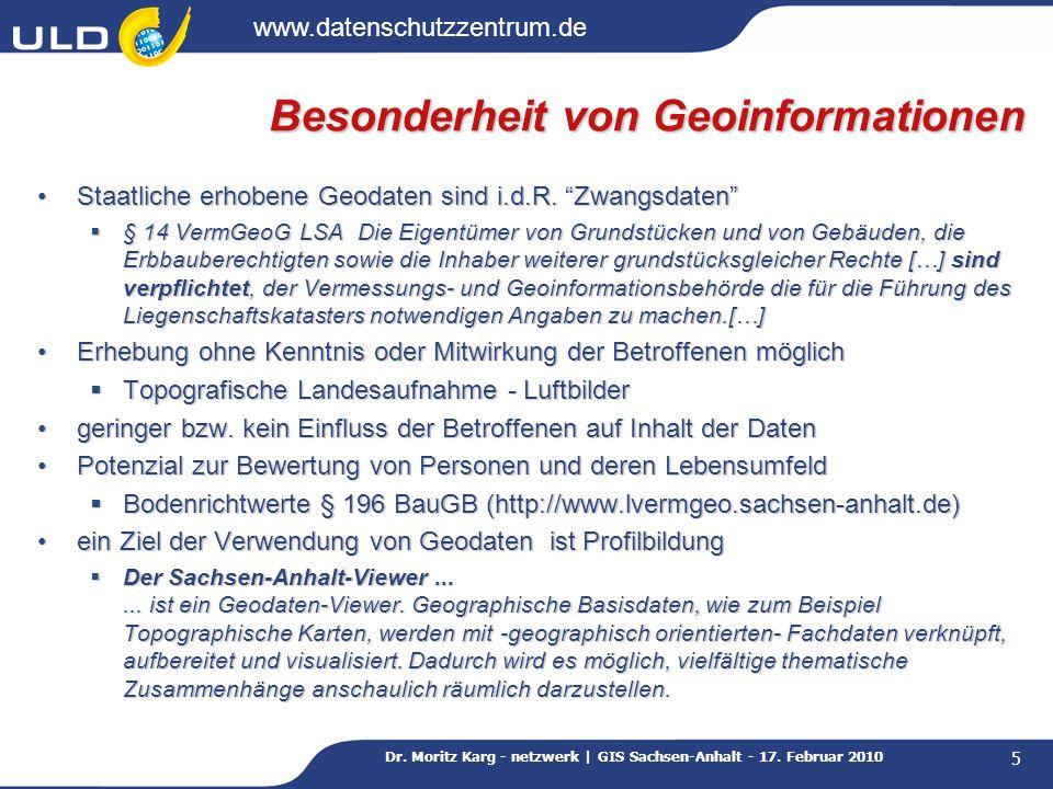 Besonderheit von Geoinformationen