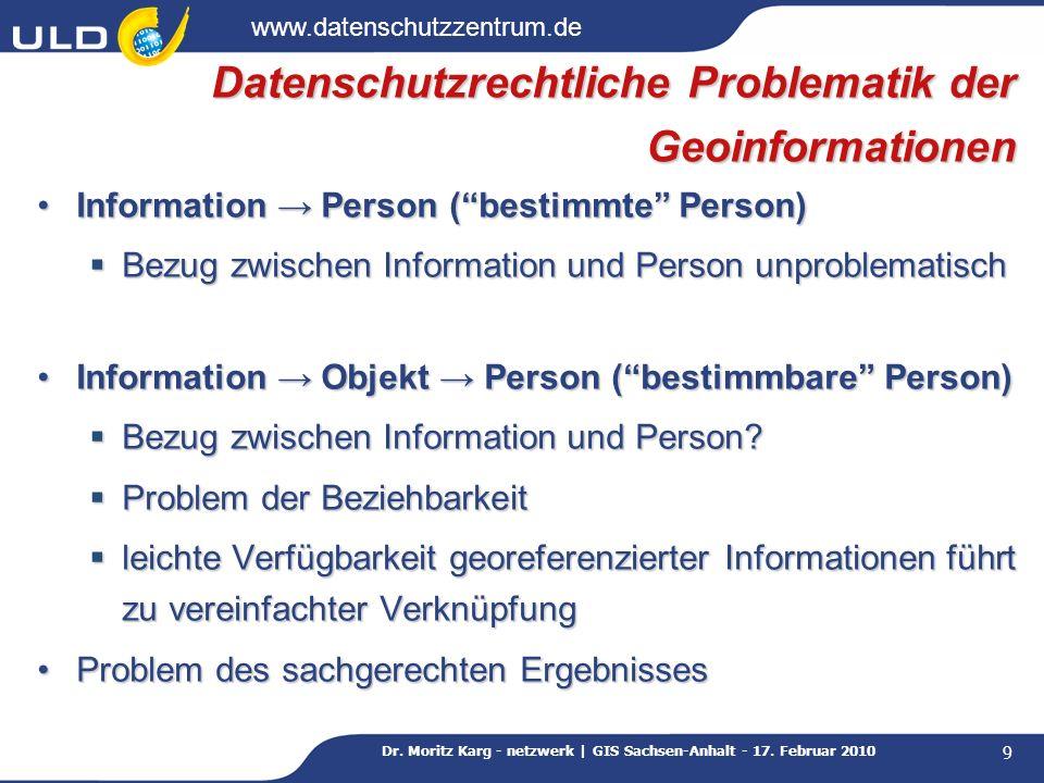 Datenschutzrechtliche Problematik der Geoinformationen