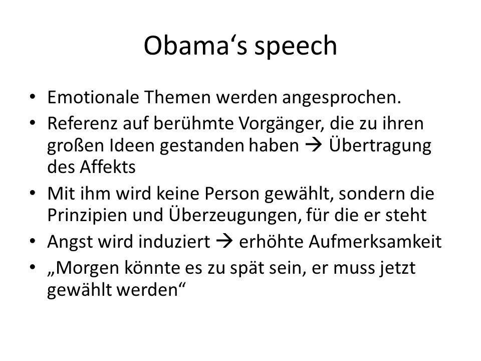 Obama's speech Emotionale Themen werden angesprochen.
