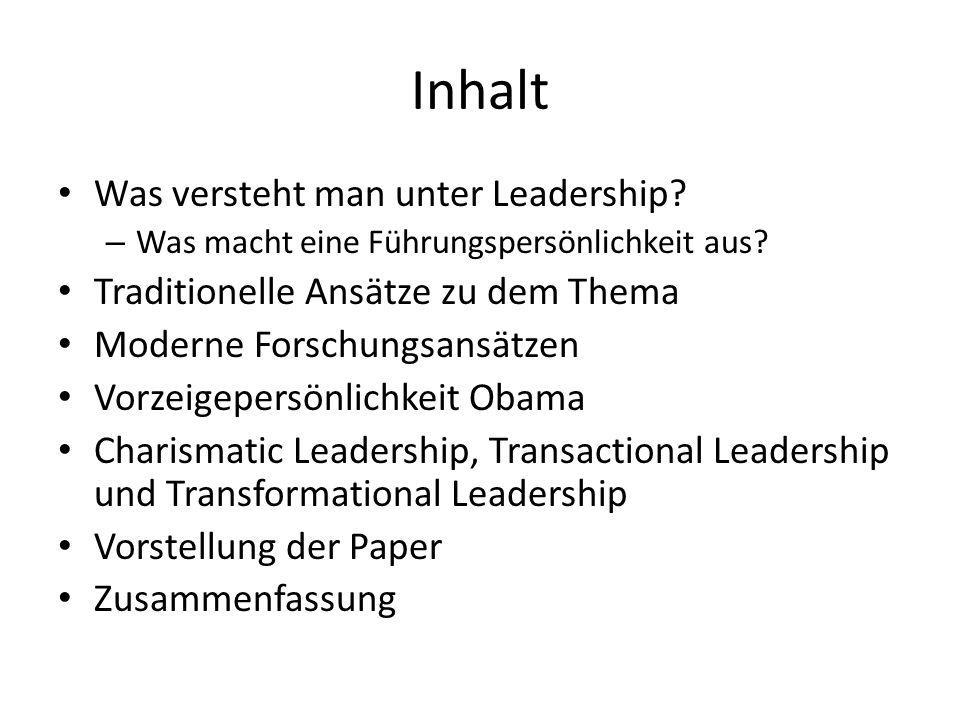 Inhalt Was versteht man unter Leadership