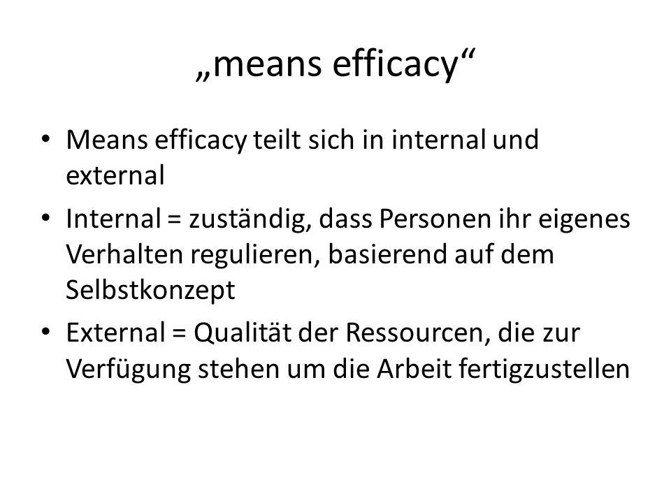 """""""means efficacy Means efficacy teilt sich in internal und external"""