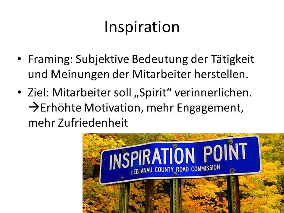 Inspiration Framing: Subjektive Bedeutung der Tätigkeit und Meinungen der Mitarbeiter herstellen.