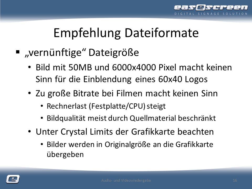 Empfehlung Dateiformate