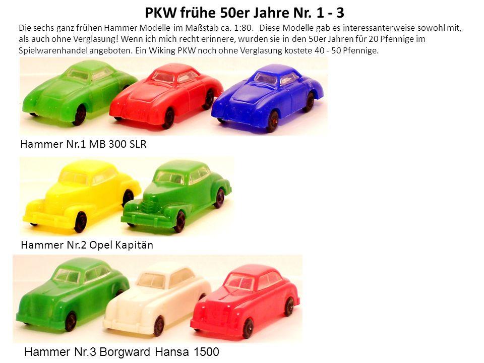 PKW frühe 50er Jahre Nr. 1 - 3 Hammer Nr.1 MB 300 SLR