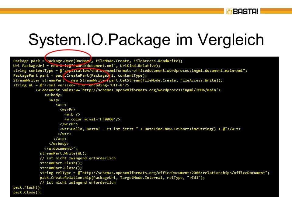 System.IO.Package im Vergleich