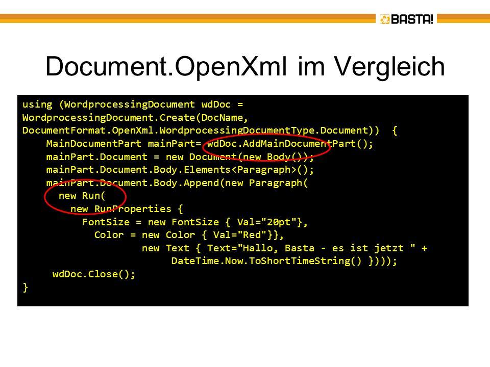 Document.OpenXml im Vergleich