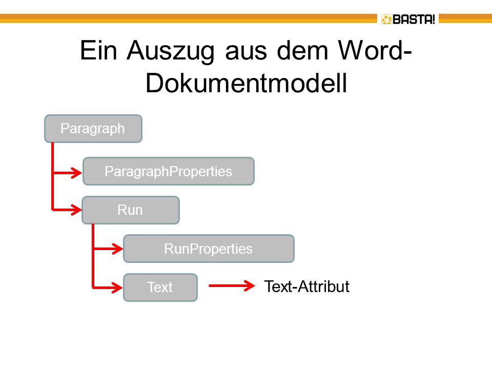 Ein Auszug aus dem Word-Dokumentmodell