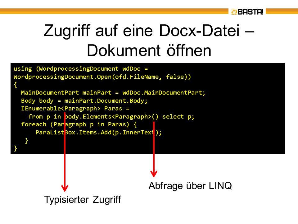 Zugriff auf eine Docx-Datei – Dokument öffnen