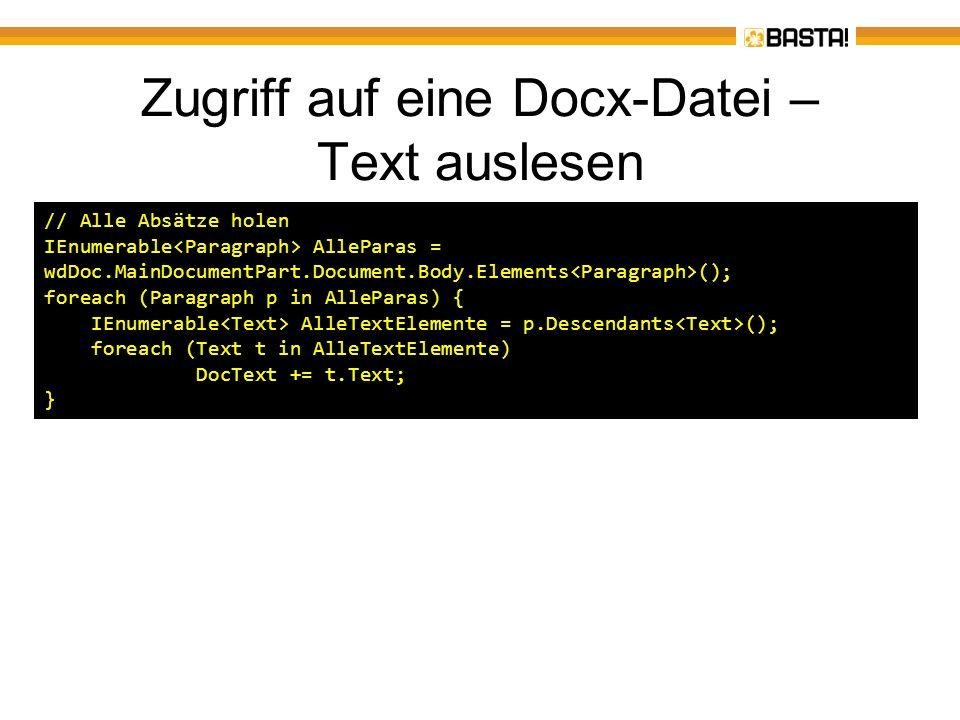 Zugriff auf eine Docx-Datei – Text auslesen