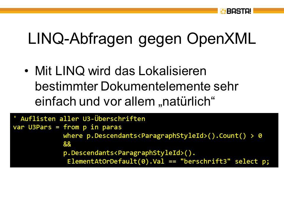 LINQ-Abfragen gegen OpenXML