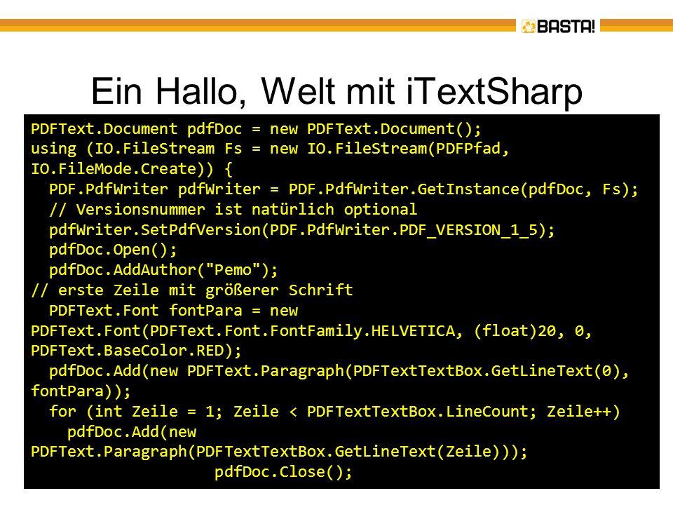 Ein Hallo, Welt mit iTextSharp