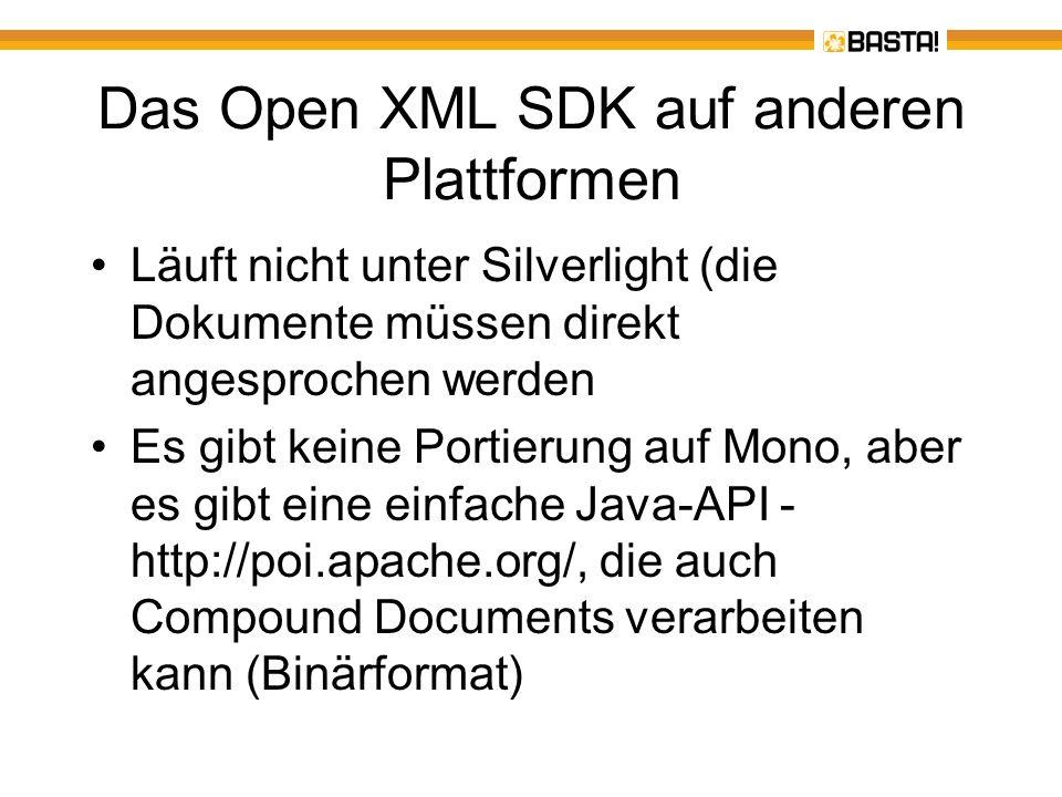 Das Open XML SDK auf anderen Plattformen