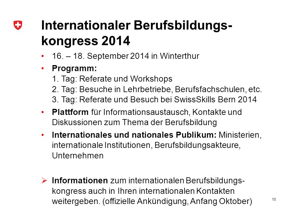 Internationaler Berufsbildungs-kongress 2014