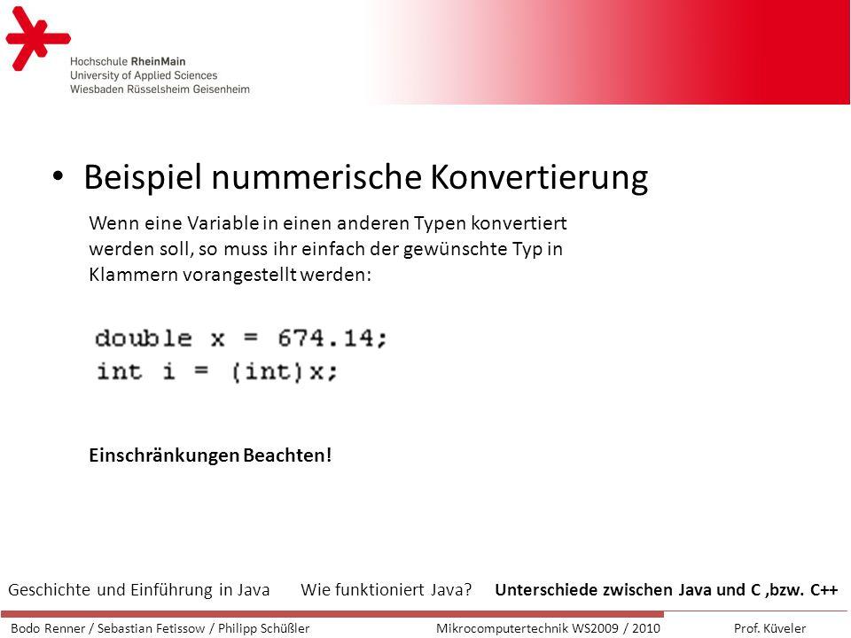Beispiel nummerische Konvertierung