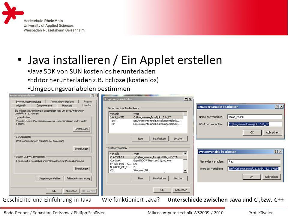 Java installieren / Ein Applet erstellen