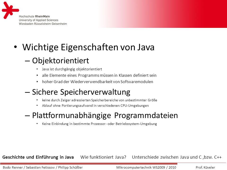 Wichtige Eigenschaften von Java