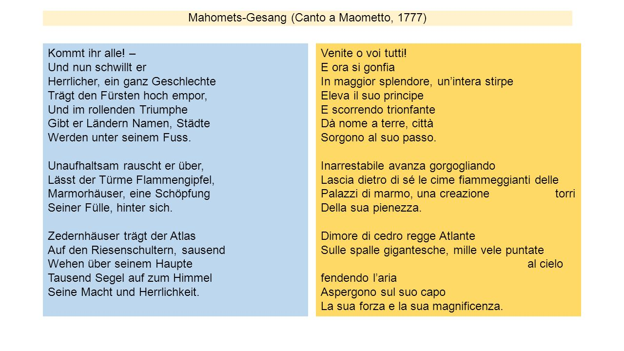 Mahomets-Gesang (Canto a Maometto, 1777)