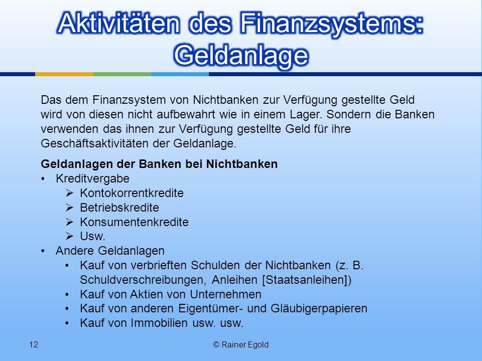 Aktivitäten des Finanzsystems: Geldanlage