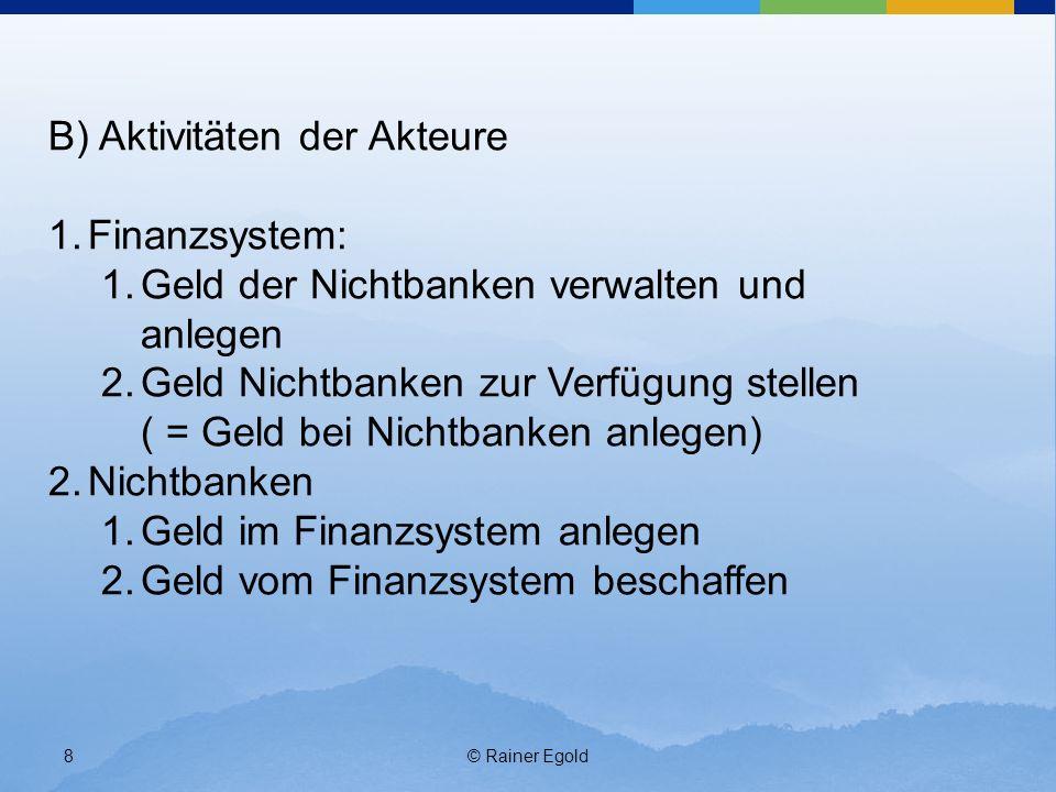 B) Aktivitäten der Akteure Finanzsystem:
