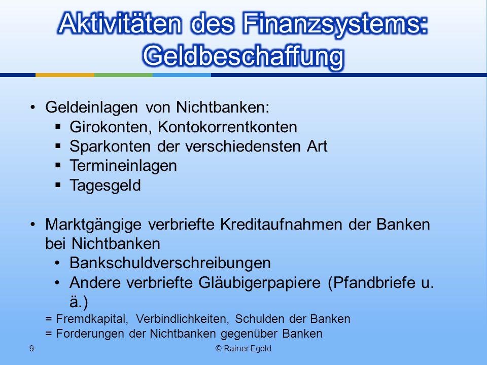 Aktivitäten des Finanzsystems: Geldbeschaffung